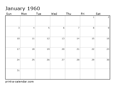 1960 Calendar.Make Your Own 1959 1960 Or 1961 Printable Calendar Pdf