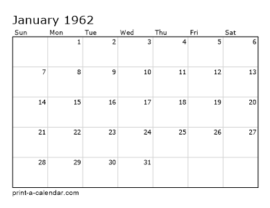 Make your own 1961, 1962, or 1963 printable calendar PDF.