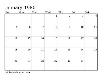 1985 Calendar.Make Your Own 1985 1986 Or 1987 Printable Calendar Pdf