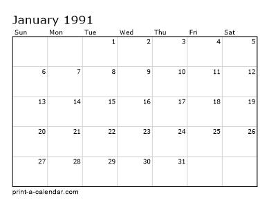 1990 Calendar.Make Your Own 1990 1991 Or 1992 Printable Calendar Pdf