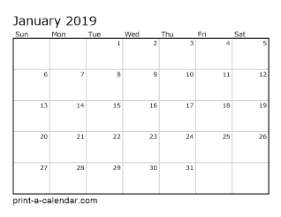 Monthly Calendar For 2019 Excel Calendar 2019