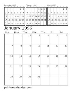Download 1996 Printable Calendars