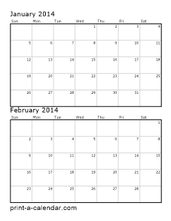 2 month calendar template 2014 - download 2014 printable calendars