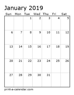 Print-A-Calendar.Com January 2019 Excel Calendar 2019