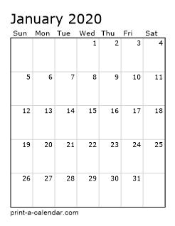 Excel Calendar 2020