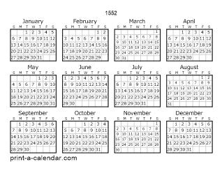 Download 1552 Printable Calendars