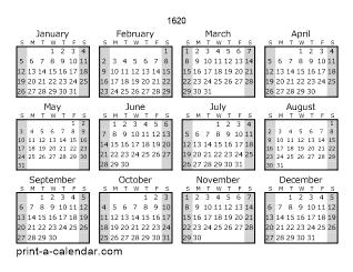 Download 1620 Printable Calendars