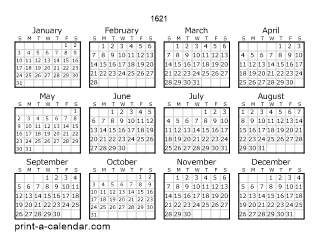 1621 one page calendar