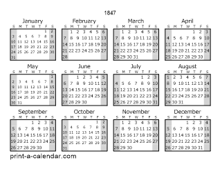 1847 one page yearly calendar with shaded weekends