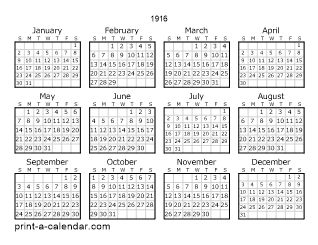 1916 Yearly Calendar | One