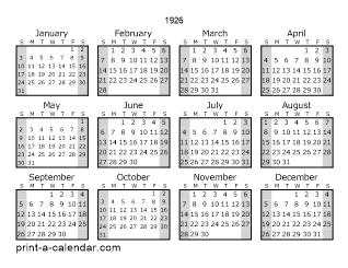 Download 1926 Printable Calendars