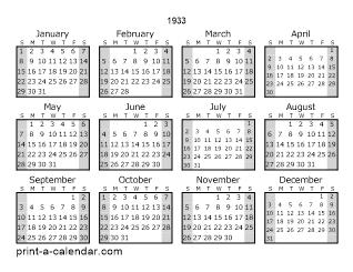 Download 1933 Printable Calendars