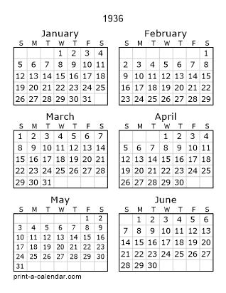 Download 1936 Printable Calendars