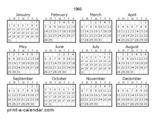 1960 Calendar.Download 1960 Printable Calendars