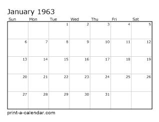 Download 1963 Printable Calendars