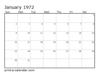 1972 Printable Monthly Calendar