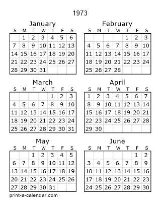 1973 Two Page Calendar