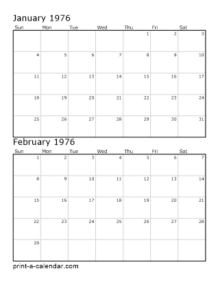 Download 1976 Printable Calendars