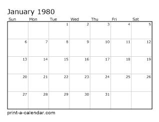 1980 Printable Monthly Calendar