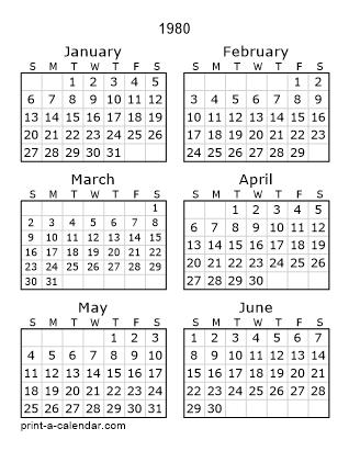 Download 1980 Printable Calendars