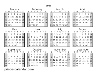 Download 1984 Printable Calendars