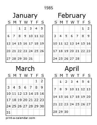 1985 Calendar.Download 1985 Printable Calendars