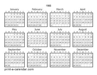 Download 1985 Printable Calendars
