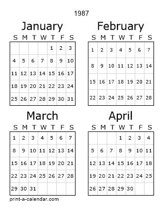 1987 Three Page Calendar