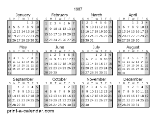 1987 One Page Yearly Calendar With Shaded Weekends