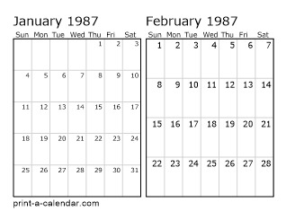 Download 1987 Printable Calendars
