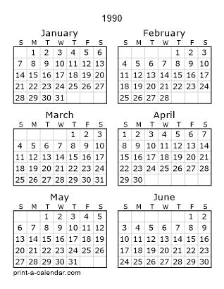 1990 Calendar.Download 1990 Printable Calendars