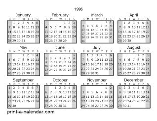1996 One Page Yearly Calendar With Shaded Weekends
