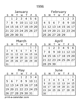 1996 Two Page Calendar