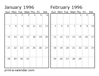 1996 Two Months Per Page Printable Calendar
