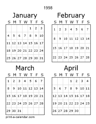 Download 1998 Printable Calendars