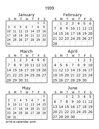 1999 Two Page Calendar
