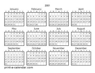 Download 2001 Printable Calendars