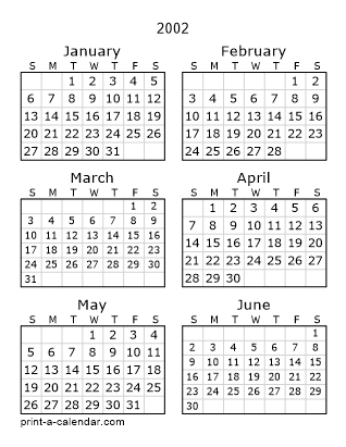 Download 2002 Printable Calendars
