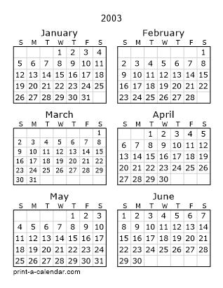 Download 2003 Printable Calendars