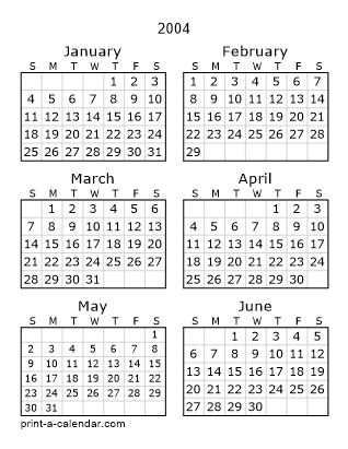 Download 2004 Printable Calendars