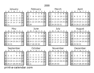 2005 one page yearly calendar with shaded weekends