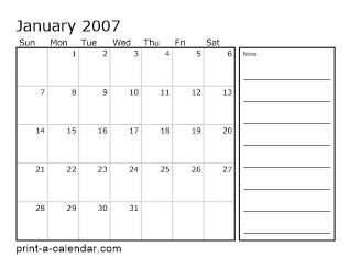 2007 Monthly Calendar With Notes