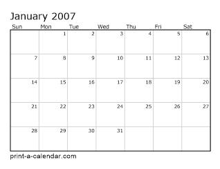 Download 2007 Printable Calendars