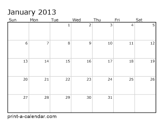 2013 calendars by month