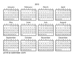 download 2013 printable calendars