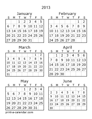 2013 calendar printable
