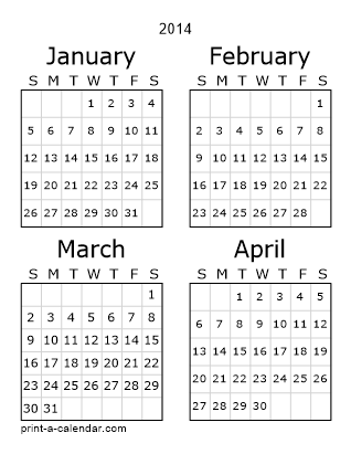 2014 Three Page Yearly Calendar | Four months per page