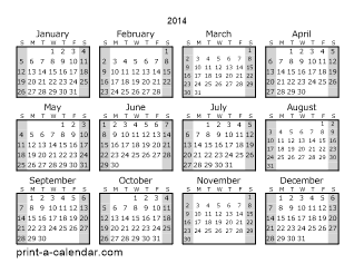 2014 Yearly Calendar (Style 1)