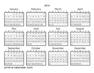 2014 Yearly Calendar | One page Calendar