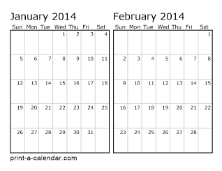 Two Horizontal Months 2014